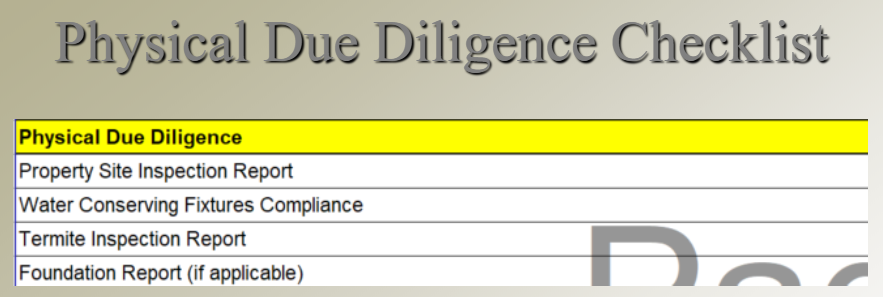 physical due diligence commercial real estate